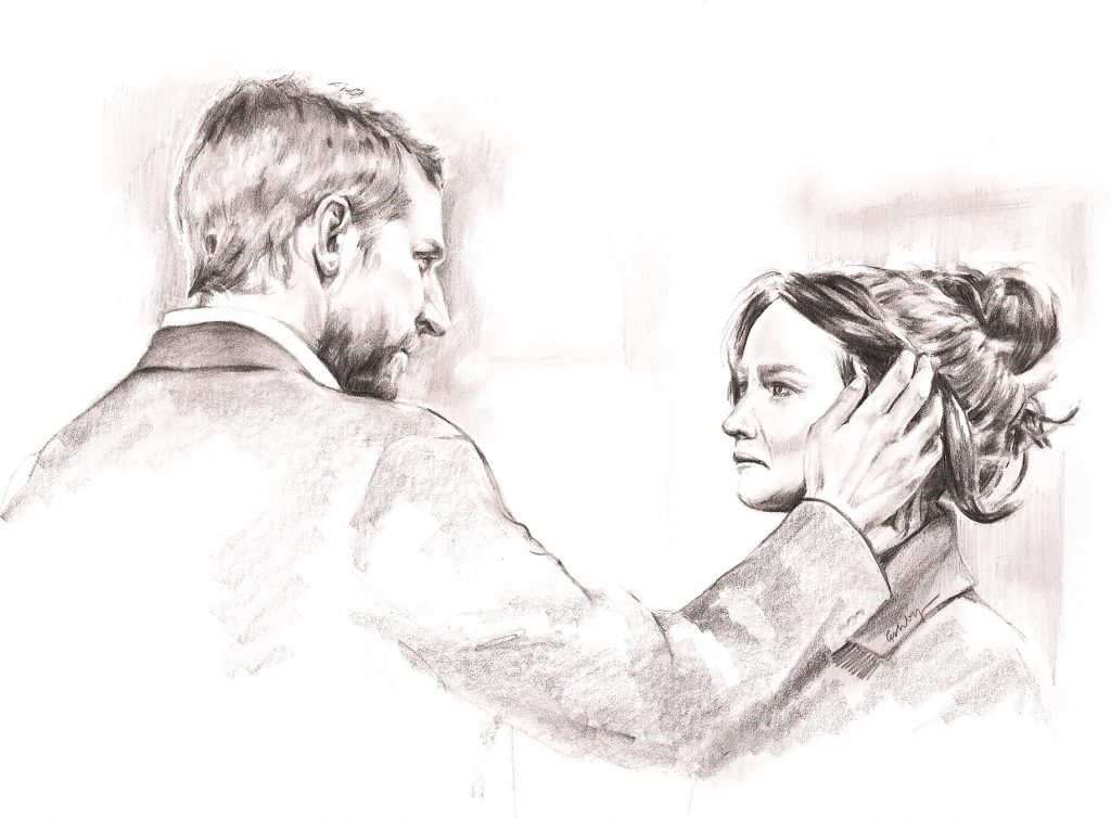 Bradley Cooper and Jennifer Lawrence in SILVER LININGS PLAYBOOK | art by Brianna Ashby