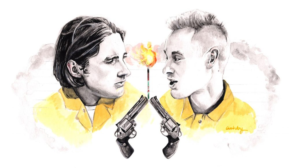Luke and Owen Wilson in Bottle Rocket | art by Brianna Ashby