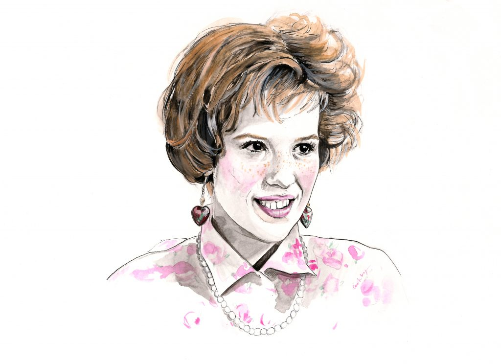 Molly Ringwald as Andie in 'Pretty in Pink' (1986) | art by Brianna Ashby