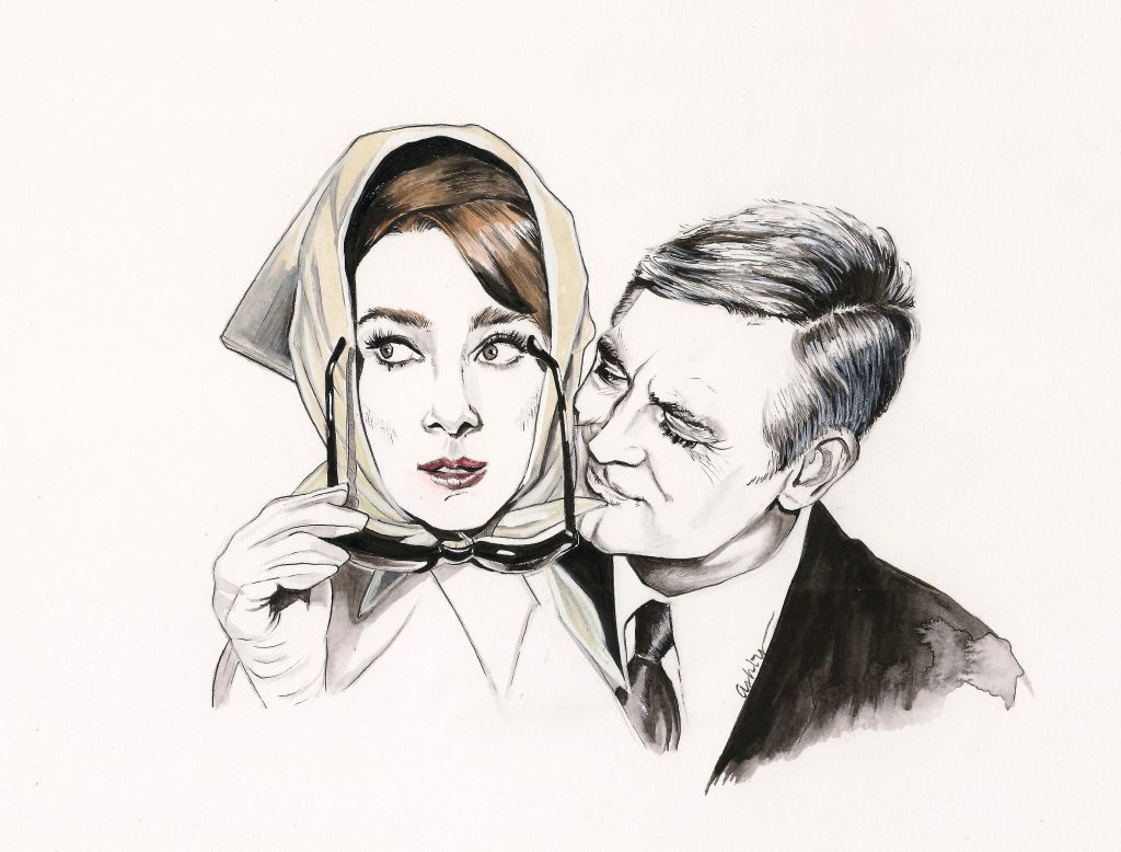 Audrey Hepburn and Cary Grant in CHARADE   art by Brianna Ashby