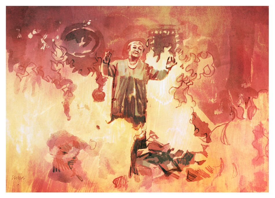 Scene from Fahrenheit 451, illustrated by Tony Stella