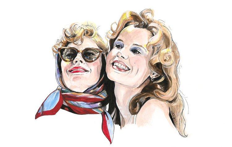 Susan Sarandon and Geena Davis in THELMA & LOUISE | art by Brianna Ashby