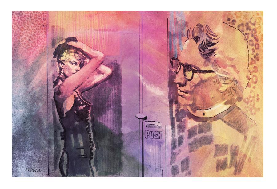 "Melanie Griffith and Craig Wasson in ""Body Double"" (original artwork by Tony Stella)"