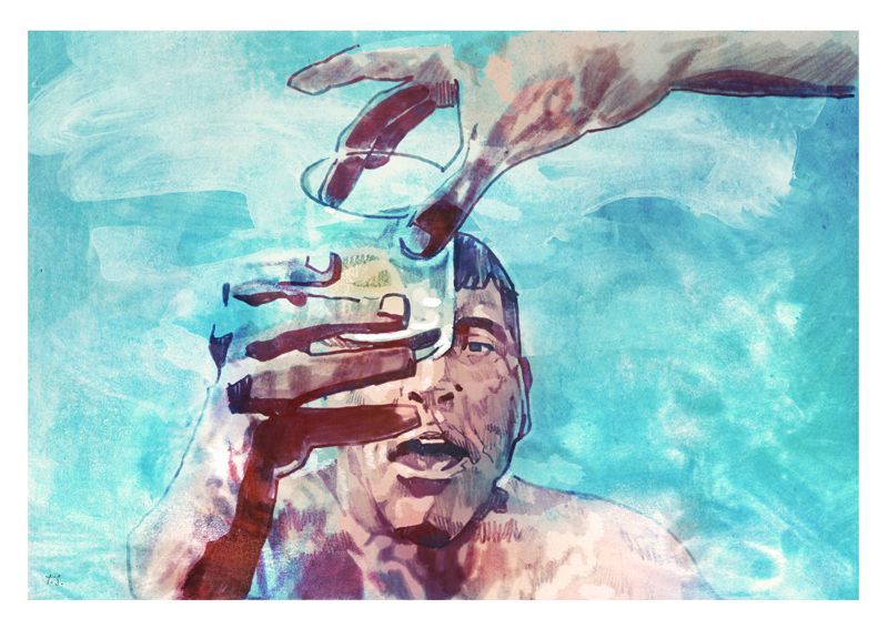 Burt Lancaster in The Swimmer   art by Tony Stella