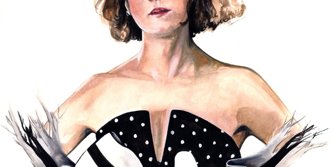 Holly Hunter in BROADCAST NEWS | art by Brianna Ashby