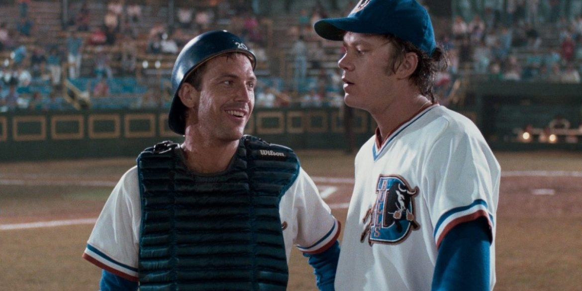 Kevin Costner and Tim Robbins in BULL DURHAM   Orion Pictures