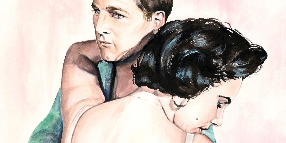Paul Newman and Elizabeth Taylor in 'Cat on a Hot Tin Roof' | artwork by Brianna Ashby
