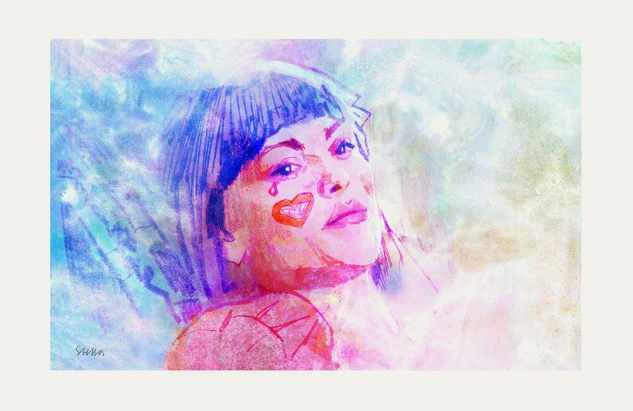 Julianne Moore in Robert Altman's SHORT CUTS (1993) | art by Tony Stella