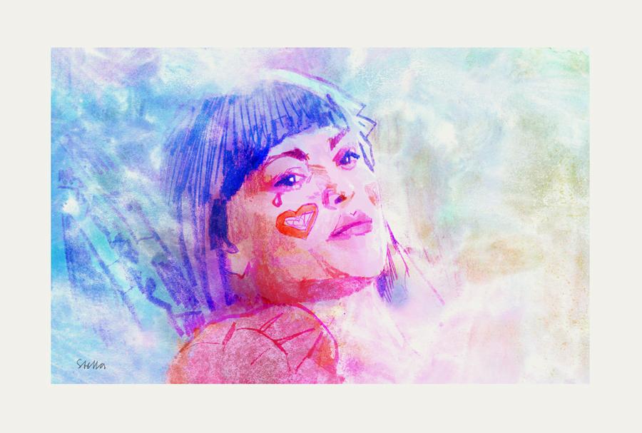 Julianne Moore in Robert Altman's SHORT CUTS (1993)   art by Tony Stella