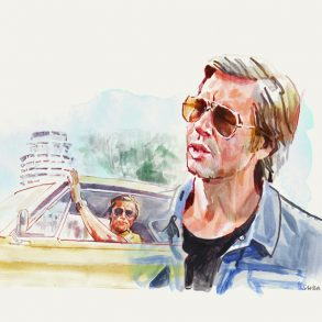 Brad Pitt as Cliff Booth in ONCE UPON A TIME IN HOLLYWOOD | artwork by Tony Stella