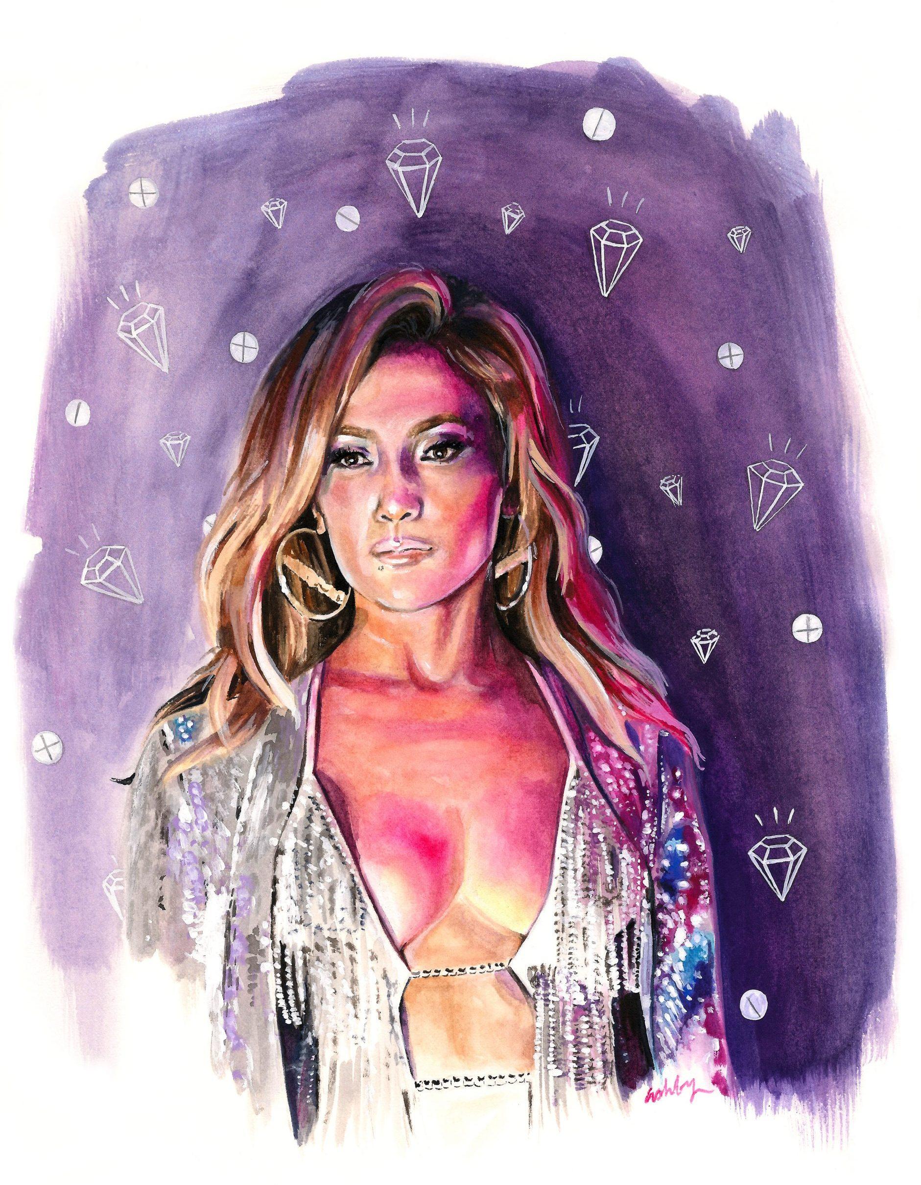 Jennifer Lopez in Hustlers (2019) | art by Brianna Ashby