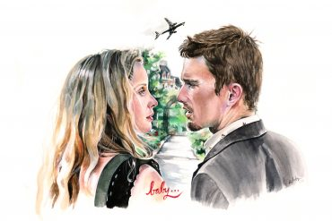 Julie Delpy and Ethan Hawke in Before Sunset | art by Brianna Ashby