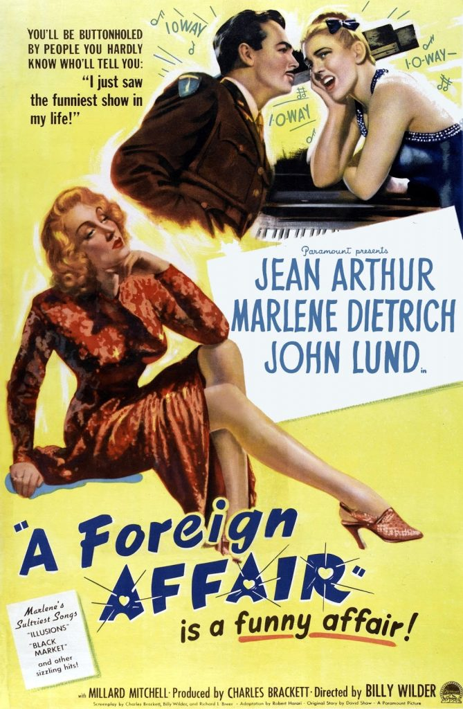 The original theatrical release poster for Billy Wilder's A FOREIGN AFFAIR | Paramount Pictures