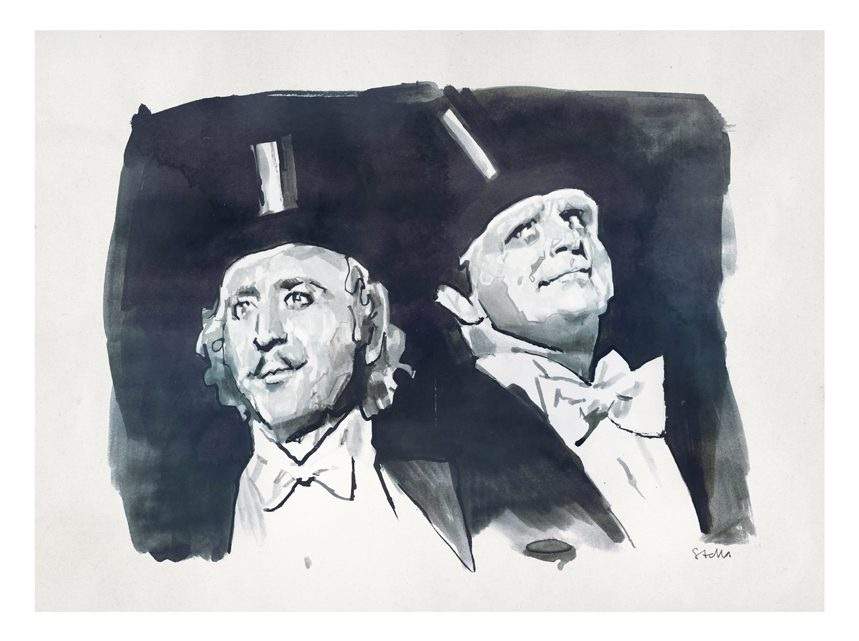 Gene Wilder and Peter Boyle in Young Frankenstein (1974) | art by Tony Stella