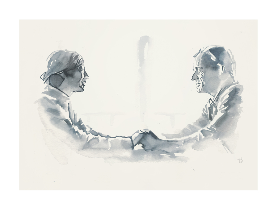 Carrie Coon and Justin Thereoux in the series finale of The Leftovers | Art by Tony Stella