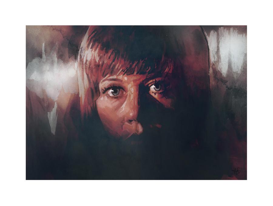 Jane Fonda in Klute (1971)   art by Tony Stella